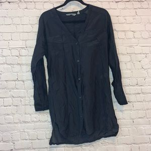 Athleta V Neck Silk Blend Black Tunic Dress